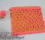 Crochet lace on a jute purse