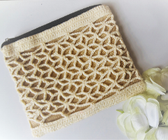 Crochet white lacy purse