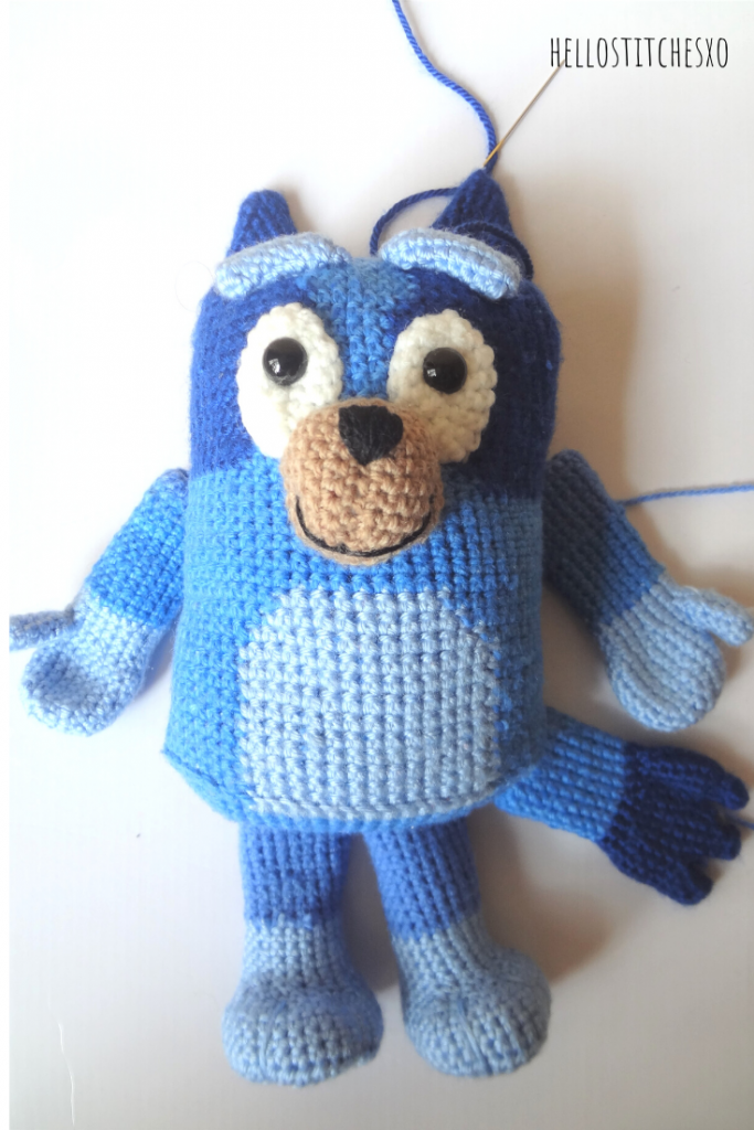 bluey amigurumi joining parts