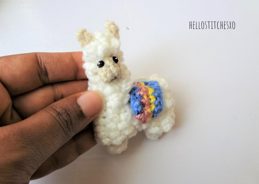 crochet llama pin brooch