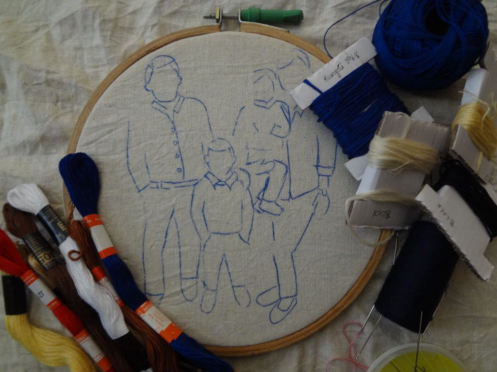 Transfer photo to fabric for embroidery