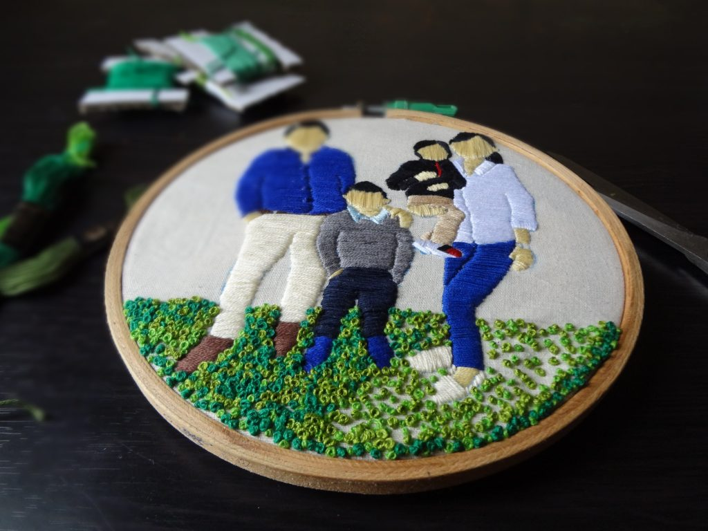 Embroidery stitches for a family portrait embroidery