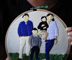 Family portrait embroidery