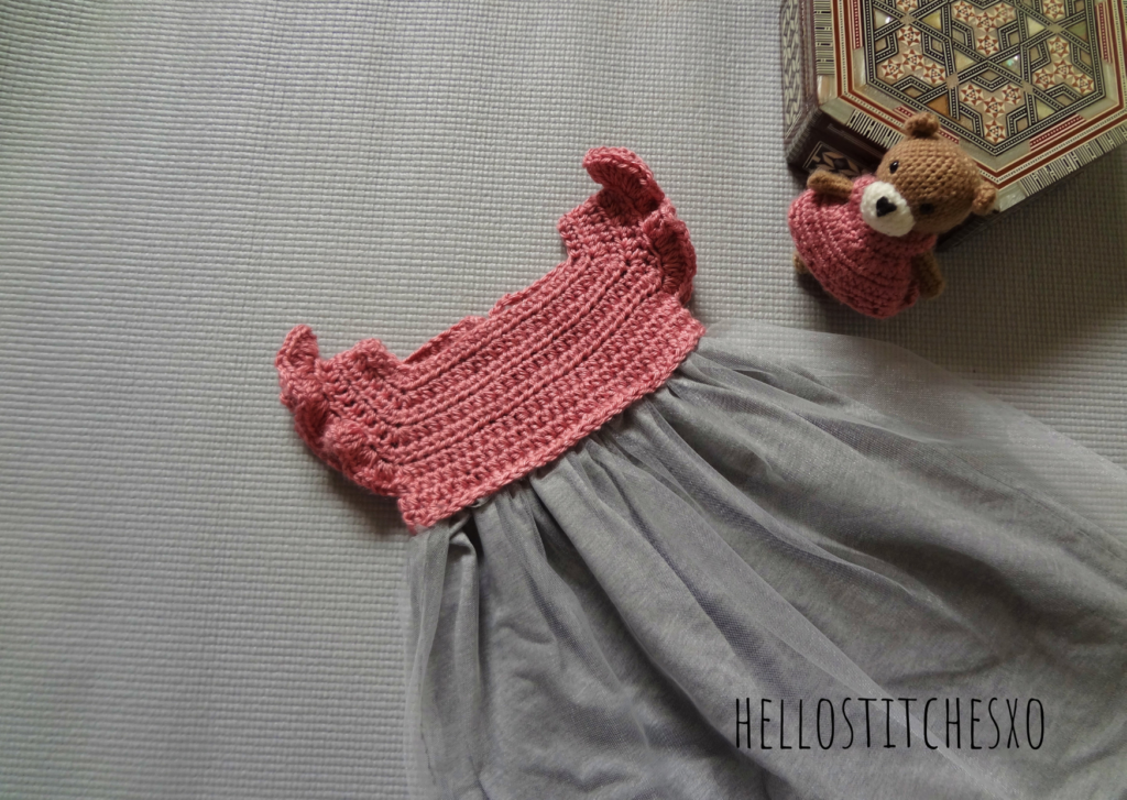 crochet baby girl dress with fabric