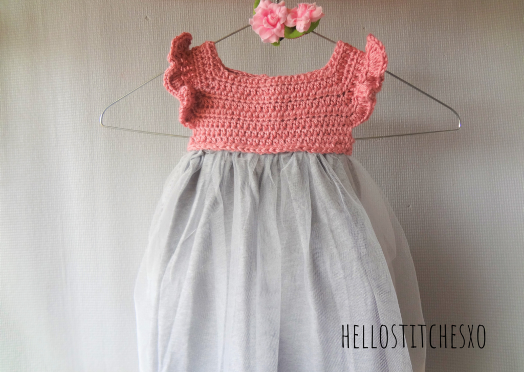 attach tulle to crochet tunic